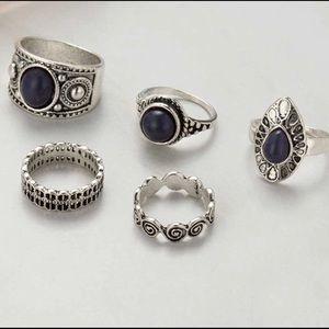 WILA Jewelry - Silver Black Boho Ring Set